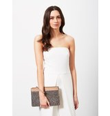 Miss Selfridge Womens Diamonte Pocket Clutch Camel