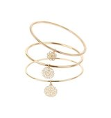 Miss Selfridge Womens Filigree Bangle Pack Gold Colour