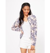 Miss Selfridge Womens Floral Print Bomber NUDE