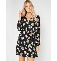 Miss Selfridge Womens Floral Wrap Belted Dress Assorted