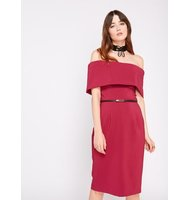 Miss Selfridge Womens Pink Deep Bardot Belted Dress Pink