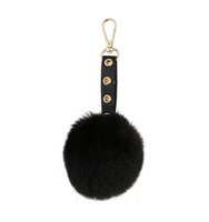 Miss Selfridge Womens Pom Pom Keyring Black