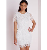 Missguided Lace Short Sleeve Bodycon Dress White