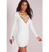 Missguided Long Sleeve Harness Detail Bodycon Dress White