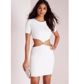 Missguided Short Sleeve Cut Out Waist Bodycon Dress White