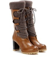 Chloe Leather And Wool Boots