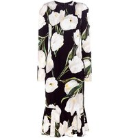 Dolce and Gabbana Floral Print Stretch Silk Dress