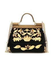 Dolce and Gabbana Miss Sicily Mini Embellished Velvet And Leather Handbag
