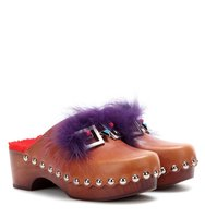 Fendi Embellished Leather Clogs