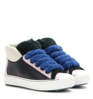 Fendi Shearling Trimmed Leather Sneakers