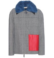 Marni Check Wool Blend Coat With Leather And Fur