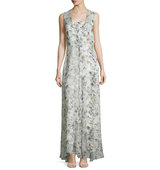 Adam Lippes Sleeveless Floral Print Silk Gown