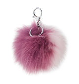 Adrienne Landau Two Tone Fox Fur Pompom Charm for Handbag