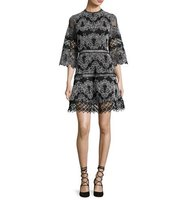 Alexis Karina Embroidered 3 4 Sleeve Dress