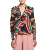 Alice Olivia Aisha Printed Tie Neck Blouse
