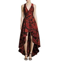Alice Olivia Sleeveless Floral Paisley High Low Cocktail Dress
