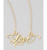 Brevity Love Hand Calligraphed Necklace