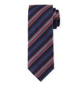 Brioni Zipper Stripe Printed Silk Tie