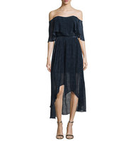 Camilla and Marc Off The Shoulder Draped High Low Cocktail Dress