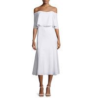 Camilla and Marc Off The Shoulder Midi Cocktail Dress