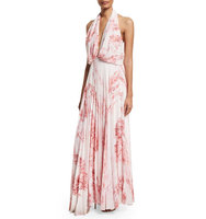 Camilla and Marc Sleeveless Halter Floral Print Maxi Dress