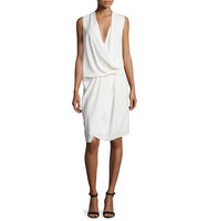 Camilla and Marc Sleeveless V Neck Draped Asymmetric Cocktail Dress