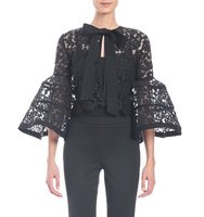 Carolina Herrera Bell Sleeve Lace Jacket with Bow
