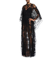 Elie Saab Sheer Floral Lace Long Sleeve Gown