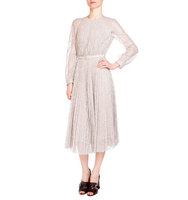 Erdem Rhona Long Sleeve Pleated Lace Midi Dress