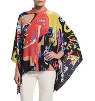 Etro Graffiti Print Button Front Poncho