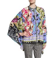 Etro Patchwork Graffiti Print Button Front Poncho Blouse