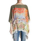 Etro Silk Paisley Print Belted Poncho