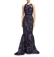 J Mendel Halter Neck Two Tone Organza Gown