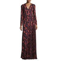 J Mendel Ikat Printed Pleated Inset Gown