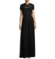 J Mendel Short Sleeve Lace Gown