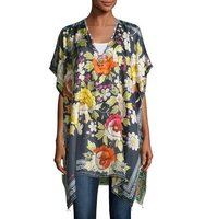 Johnny Was Rosalia Floral Print Twill Poncho