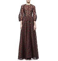 Lela Rose 3 4 Sleeve Leaf Embroidered Gown