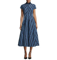 Lela Rose Check Fil Coupe Belted Shirtdress