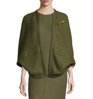Lela Rose Reversible Cashmere Cape with Brooch
