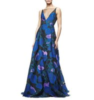 Lela Rose Sleeveless Leaf Print Fil Coupe Gown