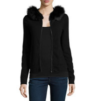 MAG by Magaschoni Cashmere Fox Fur Trim Hoodie