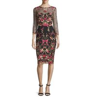 Marchesa 3 4 Sleeve Floral Embroidered Tulle Sheath Dress