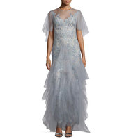 Marchesa Embellished Evening Gown W Cape