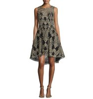Marchesa Embroidered High Low Cocktail Dress