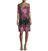 Marchesa Half Sleeve Floral Embroidered Popover Dress