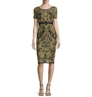 Marchesa Short Sleeve Embroidered Sheath Dress