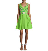 Marchesa Sleeveless Floral Embroidered Party Dress