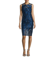 Marchesa Sleeveless Sequined Cocktail Dress
