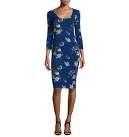 Prabal Gurung 3 4 Sleeve Floral Print Sheath Dress