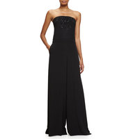 Prabal Gurung Beaded Strapless Wide Leg Jumpsuit